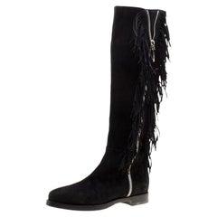 Le Silla Black Suede Fringe Trim Knee Length Boots Size 37.5