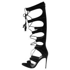 Le Silla Black Suede Gladiator Sandals Size 38