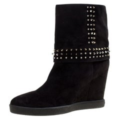 Le Silla Black Suede Studded Concealed Platform Boots Size 41