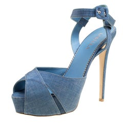 Le Silla Blue Light Wash Canvas Cross Ankle Strap Platform Sandals Size 40