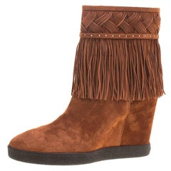Le Silla Brown Suede Concealed Fringed Wedge Boots Size 36