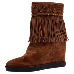 Le Silla Brown Suede Concealed Fringed Wedge Boots Size 37.5
