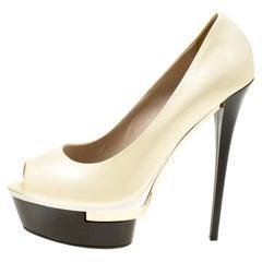 Le Silla Cream Patent Leather Peep Toe Platform Pumps Size 39