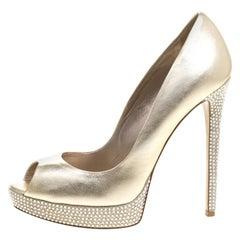 Le Silla Gold Metallic Leather Embellished Platform Peep Toe Pumps Size 38.5
