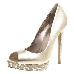 Le Silla Gold Metallic Leather Embellished Platform Peep Toe Pumps Size 41