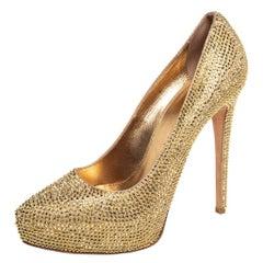 Le Silla Gold Suede Crystal Embellished Platform Pumps Size 38
