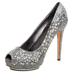 Le Silla Grey Satin Crystal Embellished Peep Toe Platform Pumps Size 37