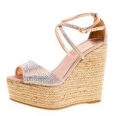 Le Silla Light Pink Crystal Embellished Suede Espadrille Wedge Ankle Strap Sanda