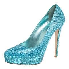 Le Silla Metallic Blue Crystal Embellished Leather Peep Toe Pumps Size 37