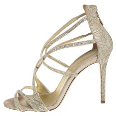 Le Silla Metallic Gold Crystal Embellished Open Toe Strappy Sandals Size 38