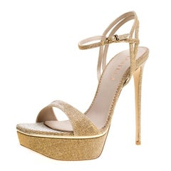Le Silla Metallic Gold Lamé Glitter Fabric Galaxy Platform Sandals Size 39