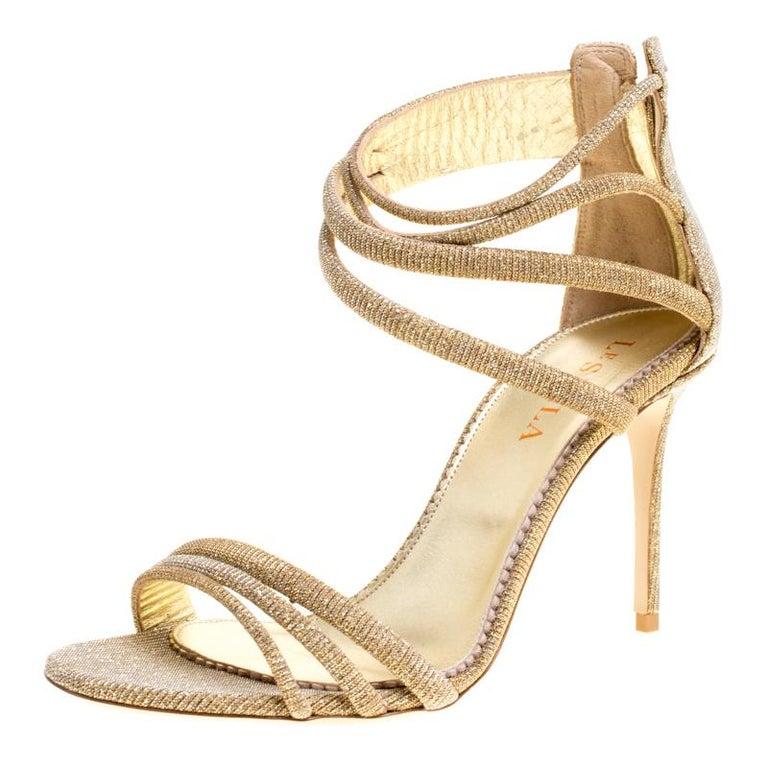 6276ad7e8bb Le Silla Metallic Gold Lamé Glitter Fabric Galaxy Sandals Size 38 For Sale