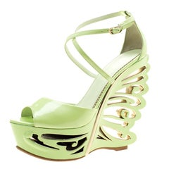3d2bee8e501c1 Le Silla Pistachio Green Patent Leather Butterfly Wedge Sandals Size 38.5
