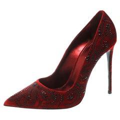 Le Silla Red Crystal Embellished Velvet Pointed Toe Pumps Size 40