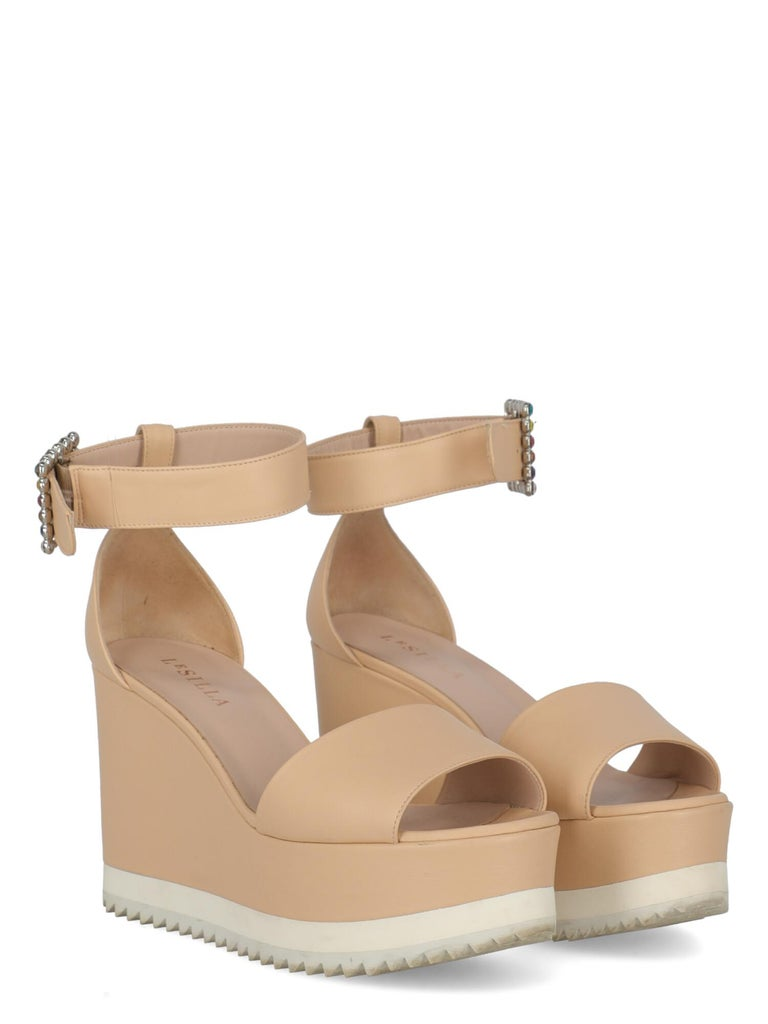 Product Description: Wedges, leather, solid color, buckle fastening, silver-tone hardware, open toe, branded insole, wedge heel, high heel, crystal embellishment  Includes: N/A  Product Condition: Good Sole: visible signs of use. Upper: visible