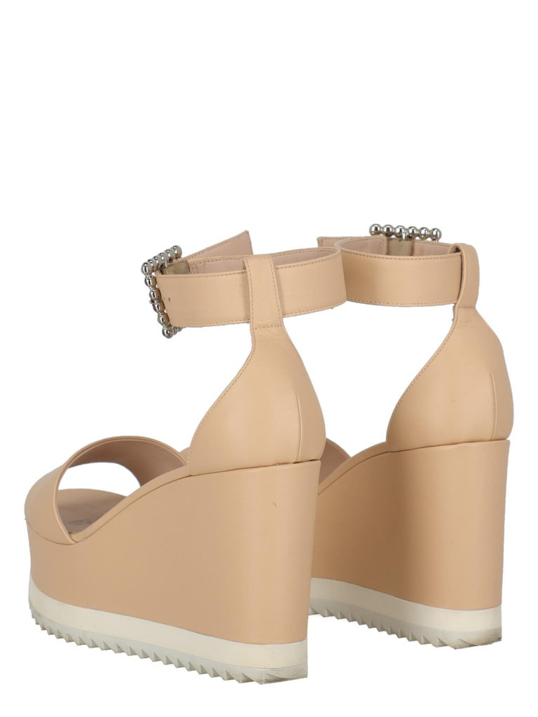 Beige Le Silla Women Wedges Pink Leather EU 39.5 For Sale