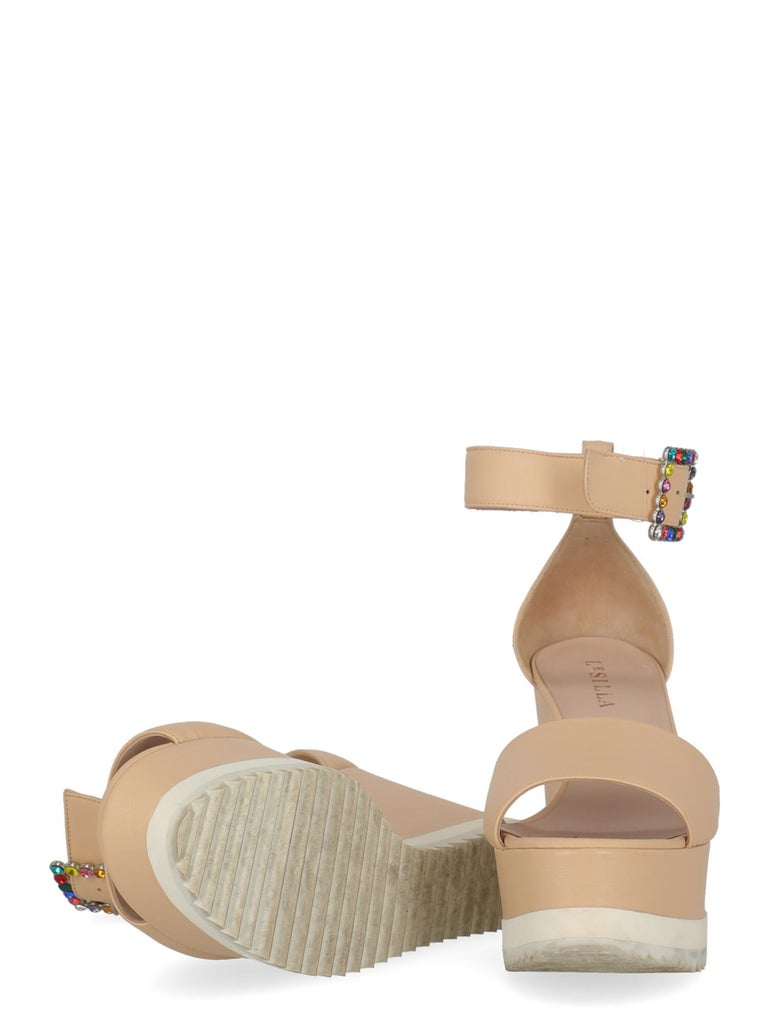 Le Silla Women Wedges Pink Leather EU 39.5 In Fair Condition For Sale In Milan, IT