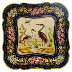 Le Tallec Blue Bowl Painted with Exotic Birds with Painted & Gold Flower Border