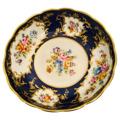 Le Tallec Blue Bowl with Painted Central Flower Bouquet and 4 Flower Medallions
