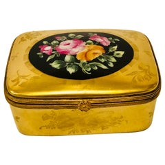 Le Tallec Box with a Gold BackGround and a Central Painting of a Flower Bouquet