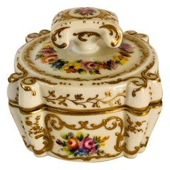 Le Tallec Dresser Box Painted with 4 Bouquets & Embellished with Raised Gilding