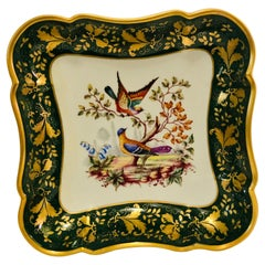 Le Tallec Green Bowl Painted with Colorful Birds with a Raised Gold Border