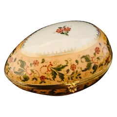 Le Tallec Peach Ground Egg Shaped Box Painted with Peach Flowers & Green Leaves