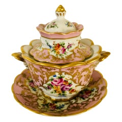 Le Tallec Pink Covered Bowl with Flower Bouquets & Raised Gold Embellishments