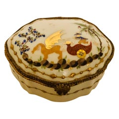 Le Tallec Porcelain Box Painted with a Whimsical Chinoiserie Scene