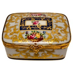 Le Tallec Porcelain Box with Decorated with Flower Bouquets and Raised Gilding