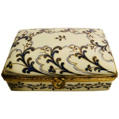 Le Tallec Porcelain Box with Hand-Painted Cobalt and Gold Arabesque Decoration