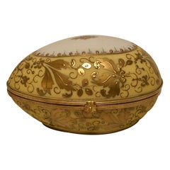 Le Tallec Porcelain Egg Shaped Box Decorated with Exquisite Raised Gilding