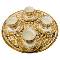 Le Tallec Set of 4 Demitasse Cups and Matching Tray with Profuse Raised Gilding