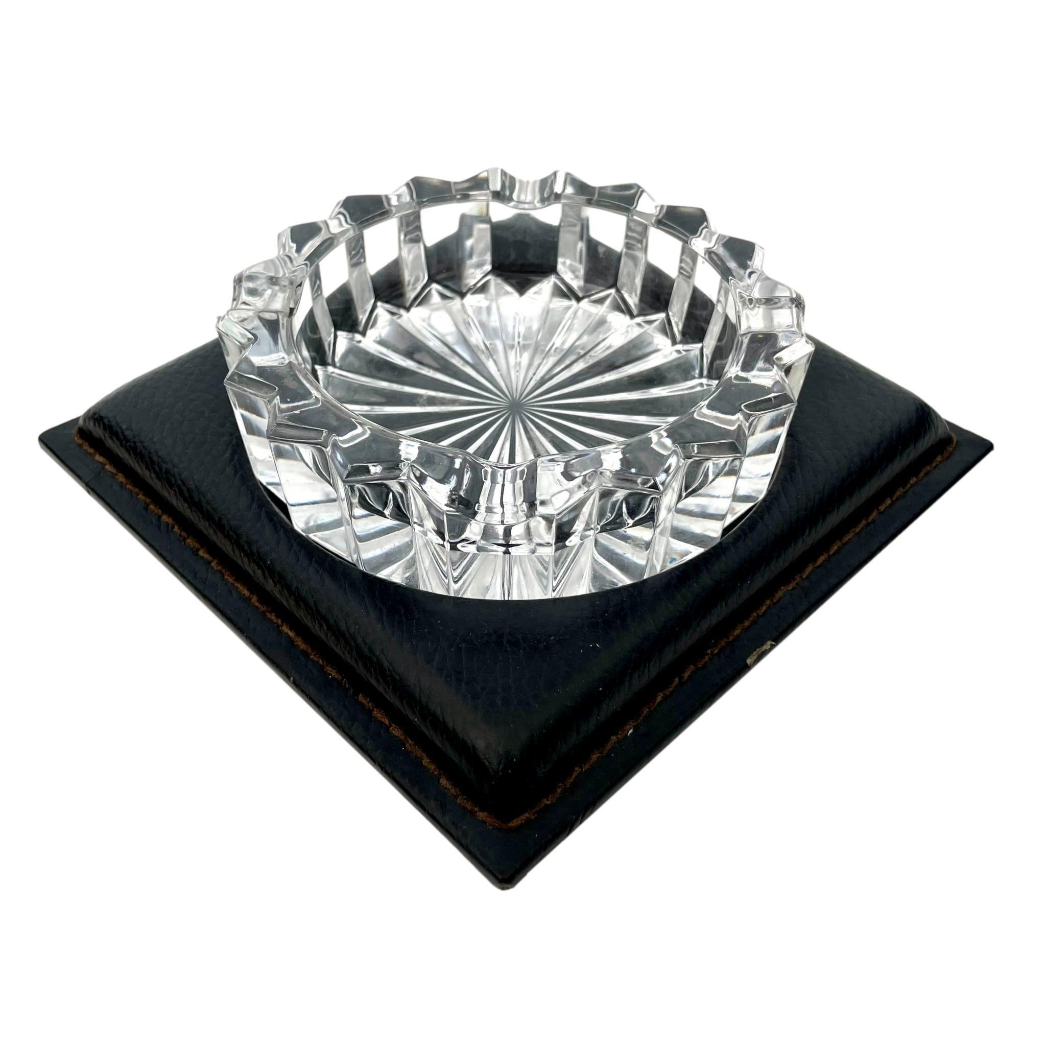 Le Tanneur Leather and Glass Ashtray