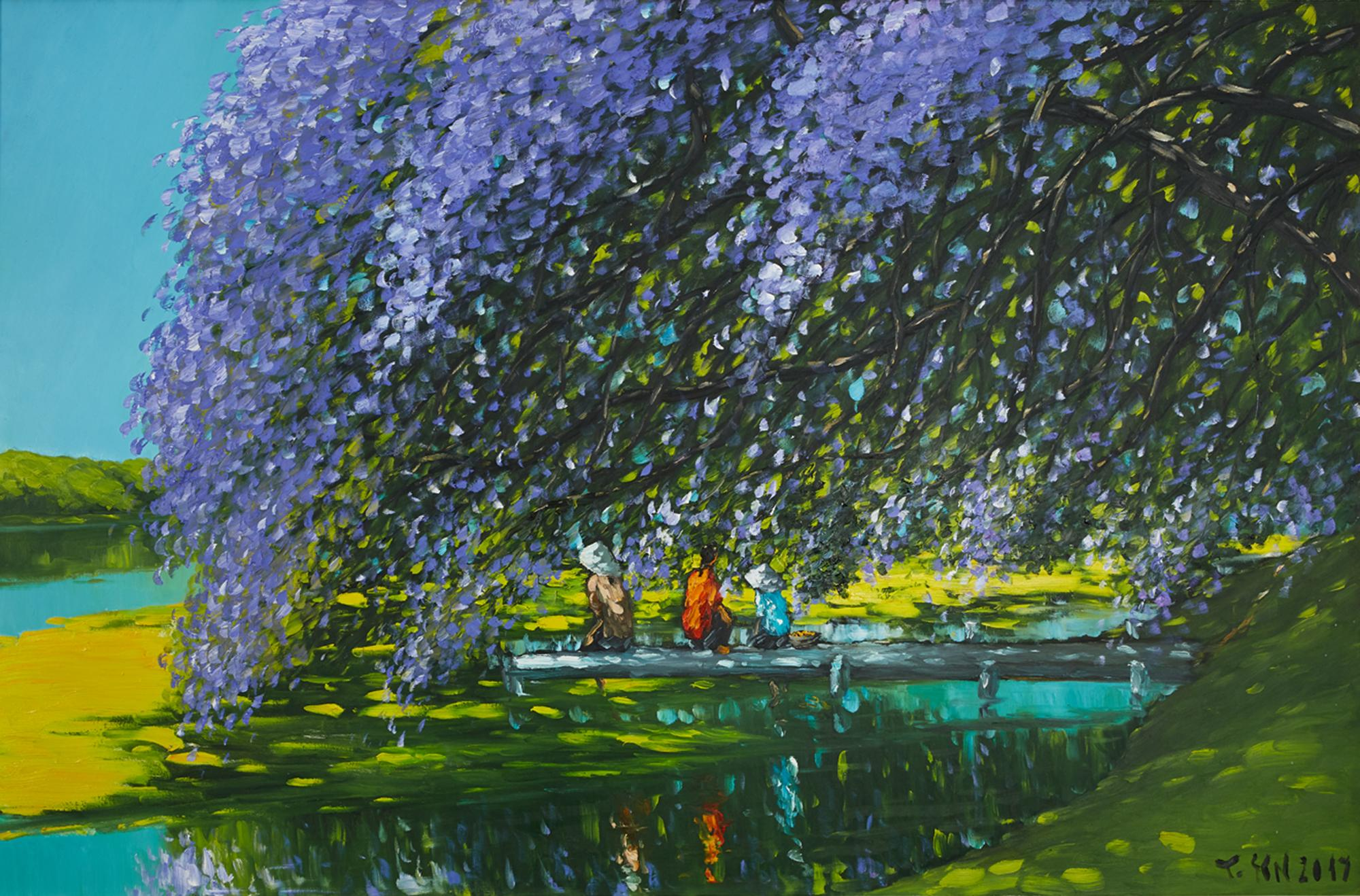 'At The River' Impressionist Landscape Painting