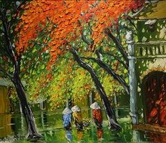 'Happy Ladies' Colorful Impressionist Painting