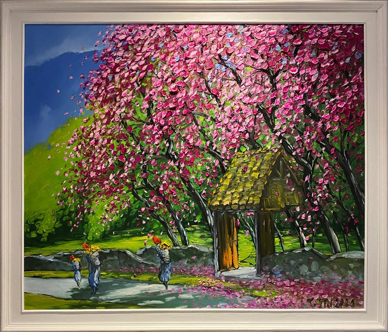 'Spring in Highlands' Colorful Impressionist Painting - Black Landscape Painting by Le Thanh Son