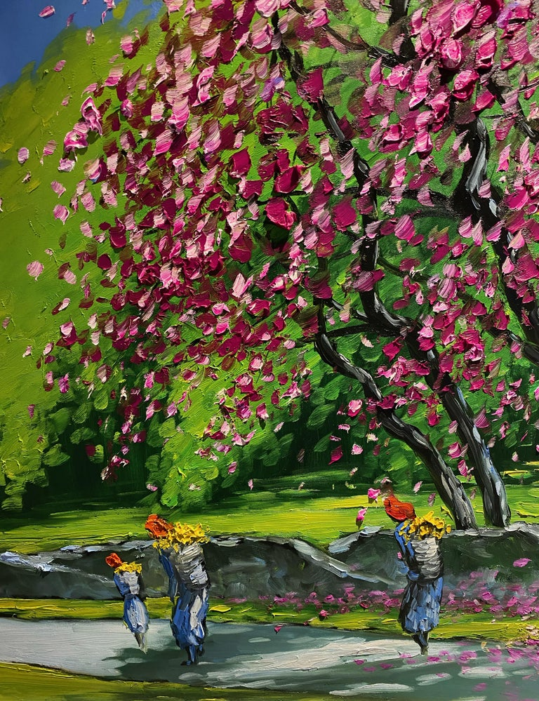 'Spring in Highlands' Colorful Impressionist Painting For Sale 1