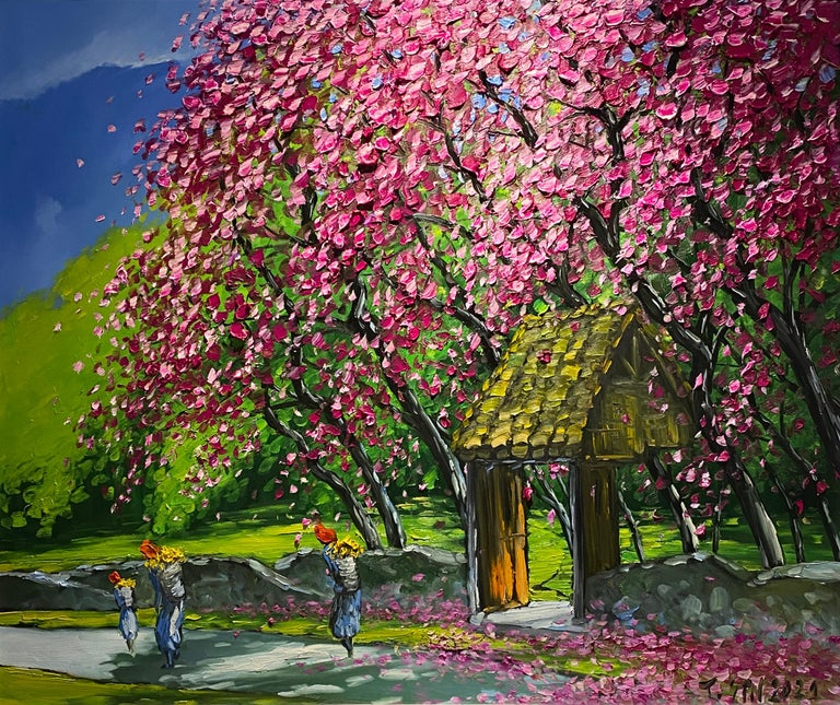 Le Thanh Son Landscape Painting - 'Spring in Highlands' Colorful Impressionist Painting