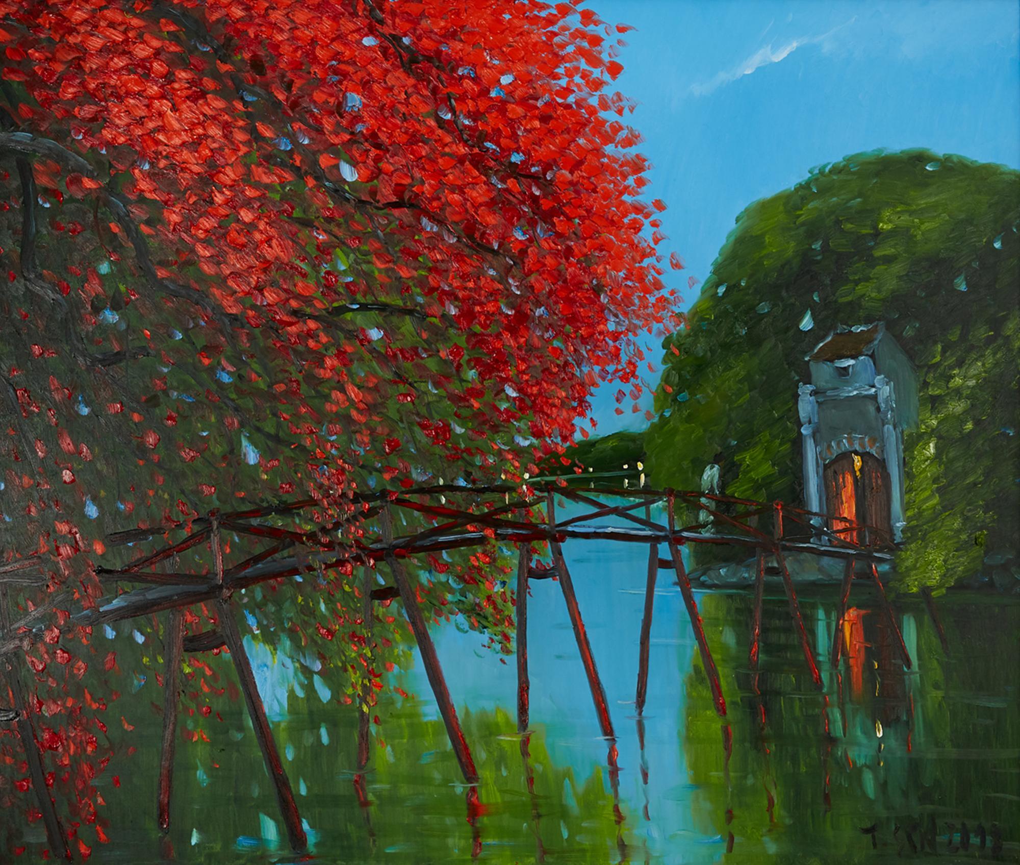 'The Huc Mid Night' Impressionist Landscape Oil Painting