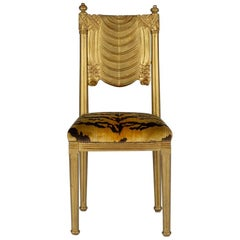 Le Tigre Neoclassical Style Giltwood Music Chair