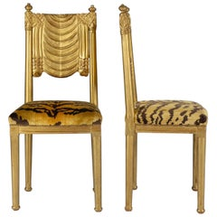 Le Tigre Neoclassical Style Giltwood Music Chairs