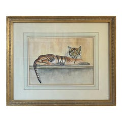 """""""Le Tigre"""" Watercolor and Pencil on Paper by Walter Pach"""