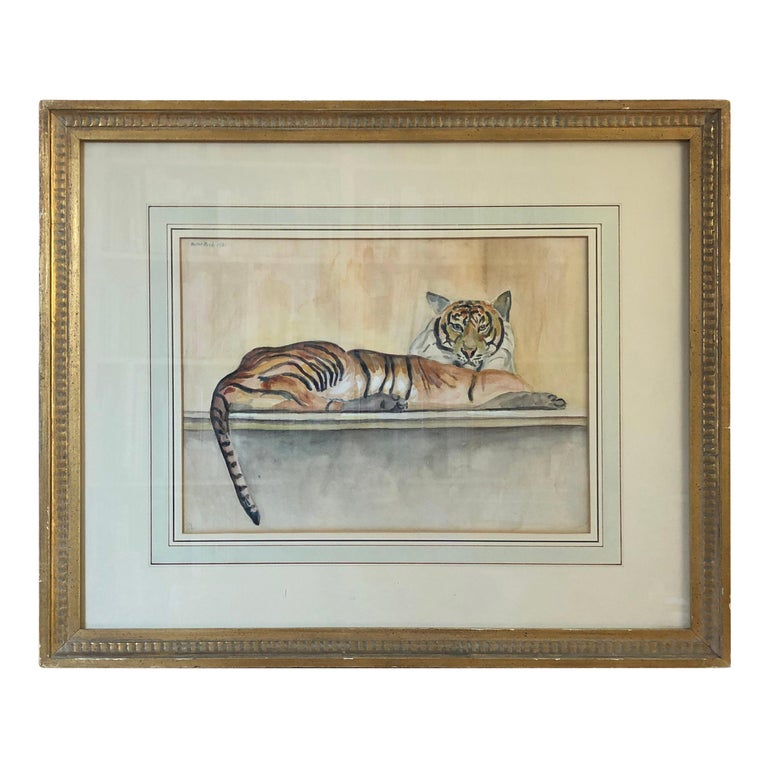"""""""Le Tigre"""" Watercolor and Pencil on Paper by Walter Pach For Sale"""