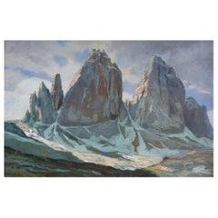 Le Tre Cime di Lavaredo, Italian Dolomites Oil on Board Painting, 1920