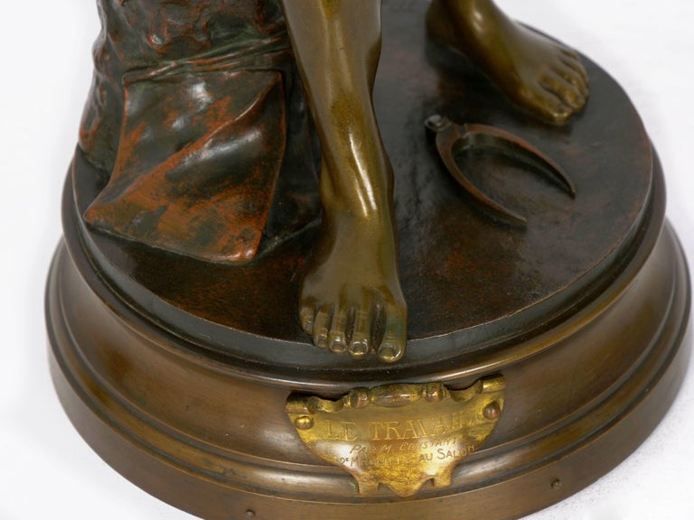 """""""Le Trevail"""" French Antique Bronze Sculpture of Blacksmith by Maurice Constant For Sale 7"""