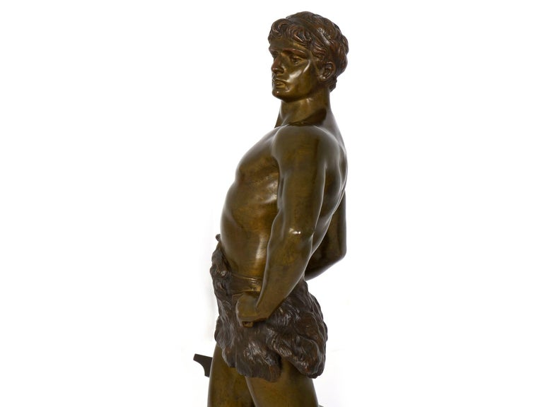 """""""Le Trevail"""" French Antique Bronze Sculpture of Blacksmith by Maurice Constant For Sale 8"""