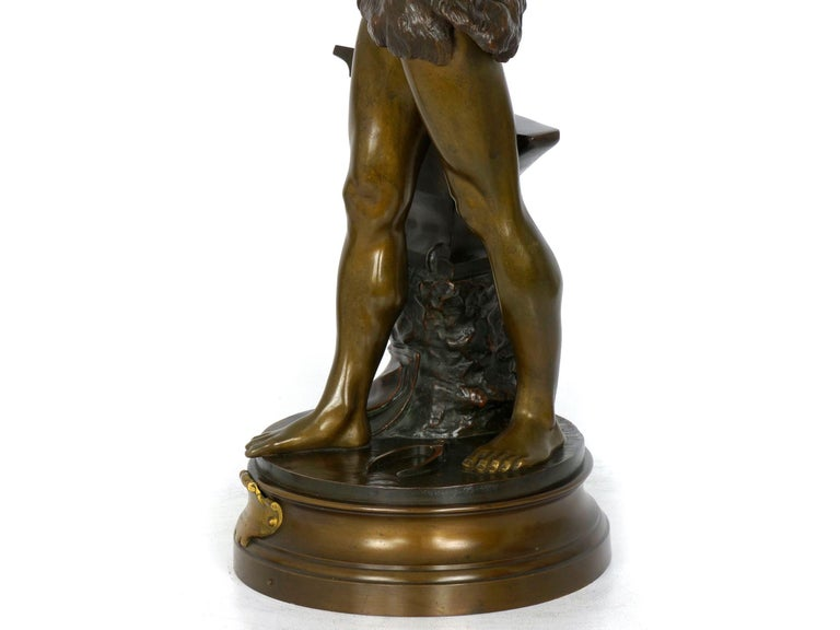 """""""Le Trevail"""" French Antique Bronze Sculpture of Blacksmith by Maurice Constant For Sale 9"""