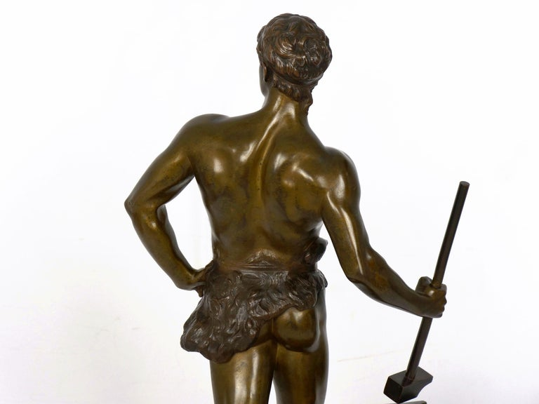 """""""Le Trevail"""" French Antique Bronze Sculpture of Blacksmith by Maurice Constant For Sale 11"""