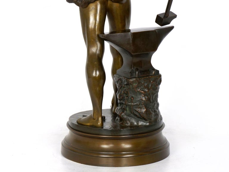 """""""Le Trevail"""" French Antique Bronze Sculpture of Blacksmith by Maurice Constant For Sale 12"""